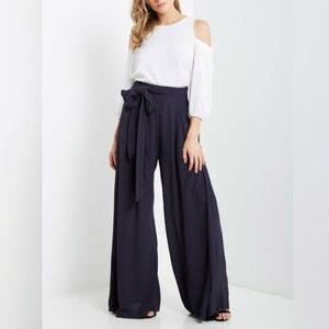 New Navy Blue Tie Wide Leg Palazzo Pant S M L XL